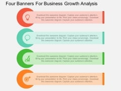 Four Banners For Business Growth Analysis Powerpoint Template