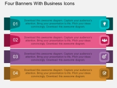 Four Banners With Business Icons Powerpoint Template