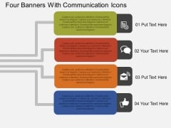 Four Banners With Communication Icons Powerpoint Templates