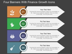 Four Banners With Finance Growth Icons Powerpoint Template