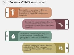 Four Banners With Finance Icons Powerpoint Template