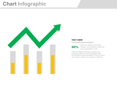 Four Bars With Green Growth Arrow Powerpoint Slides