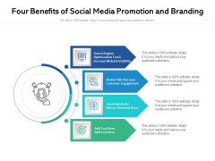 Four Benefits Of Social Media Promotion And Branding Ppt PowerPoint Presentation Icon Backgrounds PDF