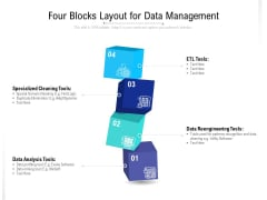 Four Blocks Layout For Data Management Ppt Gallery PDF