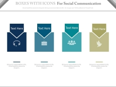 Four Boxes For Social Media And Communication Powerpoint Slides