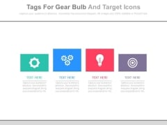 Four Boxes With Gears Bulb And Target Icons Powerpoint Slides