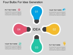 Four Bulbs For Idea Generation Powerpoint Template