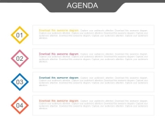 Four Business Agenda Points Powerpoint Slides