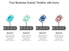 Four Business Events Timeline With Icons Ppt Powerpoint Presentation Summary