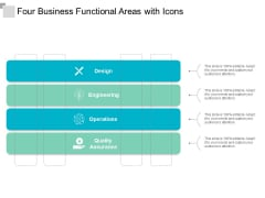 four business functional areas with icons ppt powerpoint presentation outline backgrounds