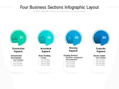 Four Business Sections Infographic Layout Ppt PowerPoint Presentation Infographic Template Display PDF