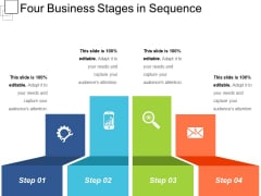 Four Business Stages In Sequence Ppt PowerPoint Presentation File Graphics Design PDF