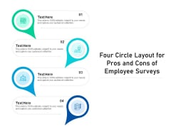 Four Circle Layout For Pros And Cons Of Employee Surveys Ppt PowerPoint Presentation Gallery Graphics Design PDF