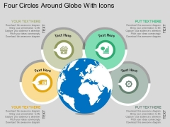 Four Circles Around Globe With Icons Powerpoint Templates