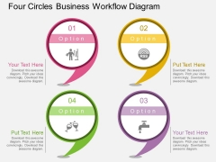 Four Circles Business Workflow Diagram PowerPoint Template