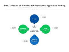 Four Circles For HR Planning With Recruitment Application Tracking Ppt PowerPoint Presentation Gallery Show PDF