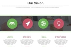Four Circles With Icons For Business Vision Powerpoint Slides