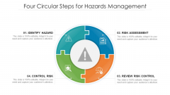 Four Circular Steps For Hazards Management Ppt PowerPoint Presentation Layouts Files PDF