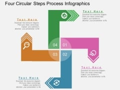 Four Circular Steps Process Infographics Powerpoint Template