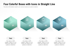 Four Colorful Boxes With Icons In Straight Line Ppt PowerPoint Presentation Pictures Background Designs PDF