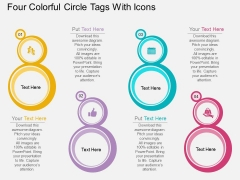 Four Colorful Circle Tags With Icons Powerpoint Template