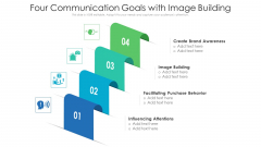 Four Communication Goals With Image Building Ppt PowerPoint Presentation Gallery Vector PDF