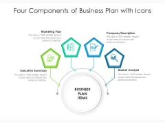 Four Components Of Business Plan With Icons Ppt PowerPoint Presentation File Brochure PDF