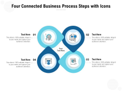 Four Connected Business Process Steps With Icons Ppt PowerPoint Presentation Outline Inspiration