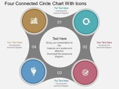 Four Connected Circle Chart With Icons Powerpoint Template