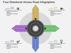 Four Directional Arrows Road Infographics Powerpoint Template