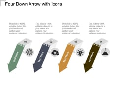 Four Down Arrow With Icons Ppt PowerPoint Presentation Layouts Display