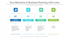 Four Elements Of Business Planning With Icons Ppt PowerPoint Presentation Infographic Template Graphics Pictures PDF