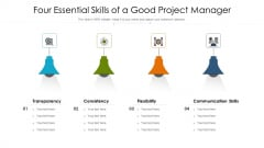 Four Essential Skills Of A Good Project Manager Ppt PowerPoint Presentation File Images PDF