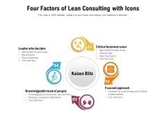 Four Factors Of Lean Consulting With Icons Ppt PowerPoint Presentation Visual Aids Diagrams PDF