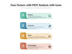Four Factors With PEST Analysis With Icons Ppt PowerPoint Presentation Infographics Visuals PDF