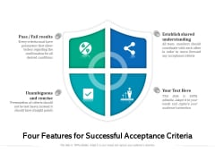 Four Features For Successful Acceptance Criteria Ppt PowerPoint Presentation Gallery Graphics Download PDF
