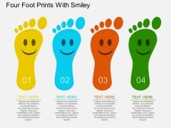 Four Foot Prints With Smiley Powerpoint Template