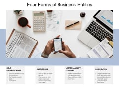Four Forms Of Business Entities Ppt PowerPoint Presentation Show Template