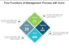 Four Functions Of Management Process With Icons Ppt PowerPoint Presentation Slides Background Image