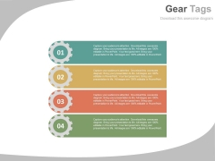Four Gear Tags For Process Control Powerpoint Template