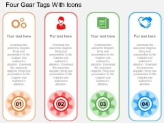 Four Gear Tags With Icons Powerpoint Templates