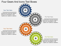 Four Gears And Icons Text Boxes Powerpoint Template