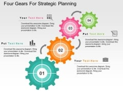 Four Gears For Strategic Planning Powerpoint Templates