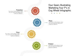 Four Gears Illustrating Marketing Four Ps In Cog Wheel Infographic Ppt PowerPoint Presentation Summary Design Templates PDF