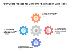 Four Gears Process For Consumer Satisfaction With Icons Ppt PowerPoint Presentation Visual Aids Outline PDF