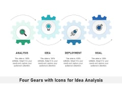 Four Gears With Icons For Idea Analysis Ppt PowerPoint Presentation Layouts PDF