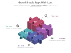 Four Growth Puzzle Steps With Icons Powerpoint Slides