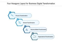 Four Hexagons Layout For Business Digital Transformation Ppt PowerPoint Presentation Gallery Influencers PDF