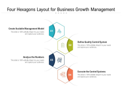Four Hexagons Layout For Business Growth Management Ppt PowerPoint Presentation File Portfolio PDF