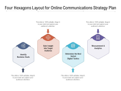 Four Hexagons Layout For Online Communications Strategy Plan Ppt PowerPoint Presentation Gallery Styles PDF